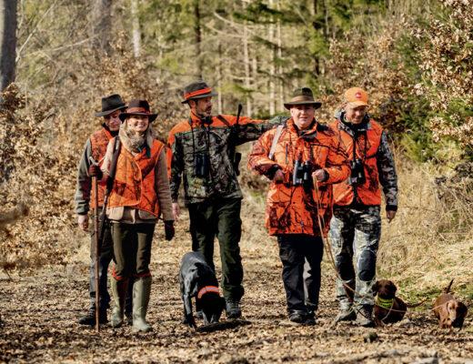 jaeger mit hunden in oranger tarnkleidung gehen auf waldweg