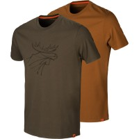 Härkila T-Shirt Graphic 2er-pack Willow green-rustique clay