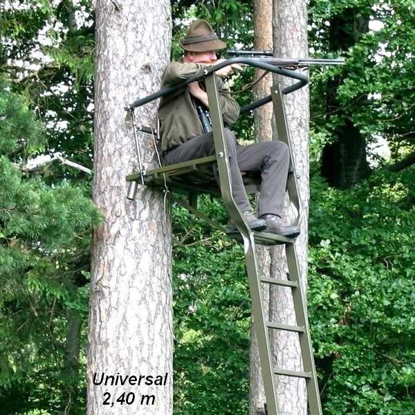Aluminium-Hochsitz Universal Höhe:2,40m / Ablag.-Schale Baumsitz