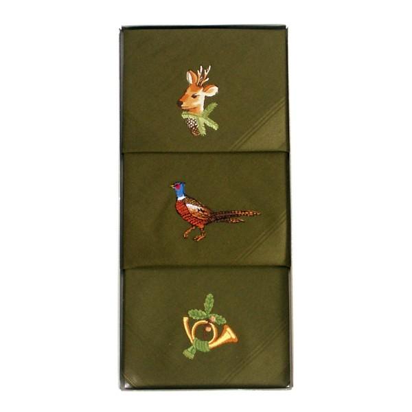 Taschentücher Jagd 3er-Set Grün