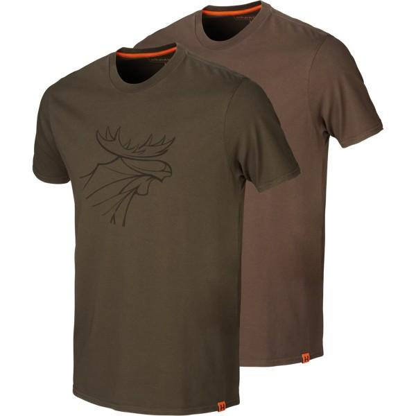 Härkila T-Shirt Graphic 2er-pack Willow green-slate brown