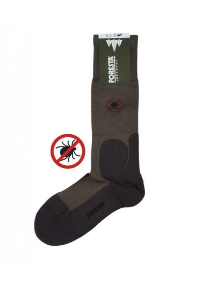 Foresta Anti-Zecken Socke Olive - Die Einarbeitung des Wirkstoffs Permethrin bietet auch nach vielen Wäschen einen hervorragenden Schutz gegen Zecken.