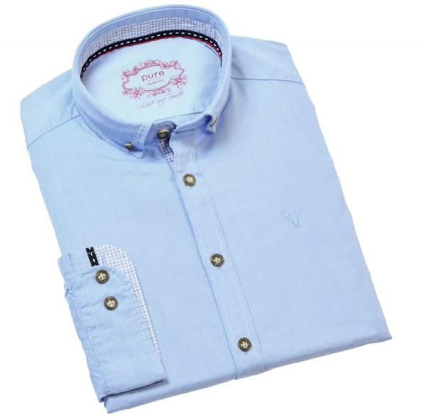 Hatico Hemd PURE Slim Fit Blau - Das sportive Langarmhemd von Hatico ist tailliert geschnitten und hat einen Button-down-Kragen.