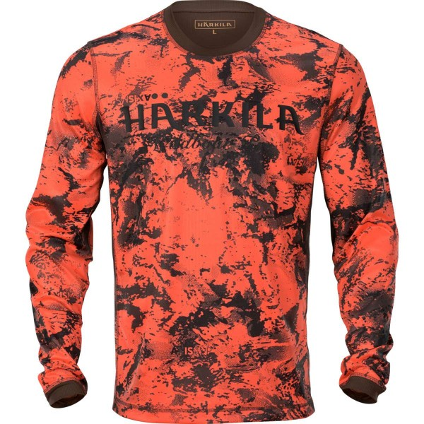 Härkila Langarmshirt Wildboar Pro Orange Blaze-Shadow brown