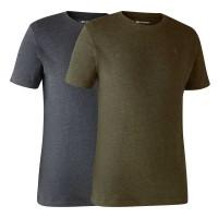 Basis T-Shirt 2-er Pack Adventure green melange