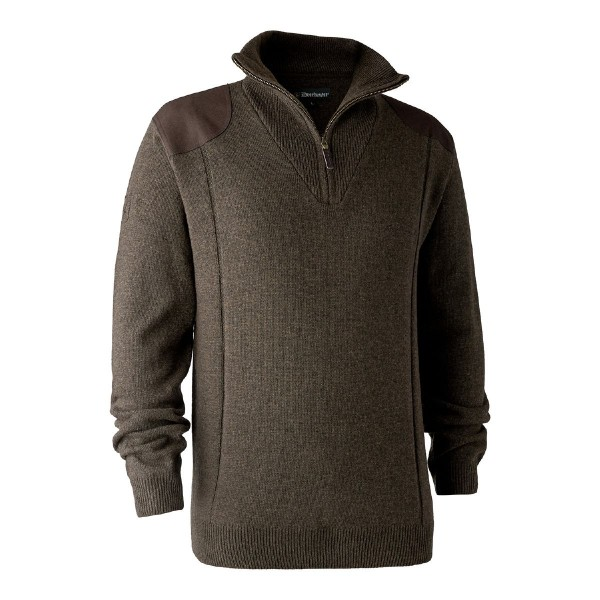 Deerhunter Pullover Sheffield m. Zip-neck Dark elm