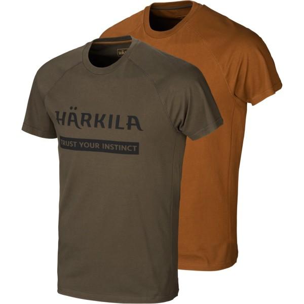 Härkila T-Shirt Logo 2er-pack Willow green-rustique clay
