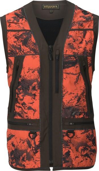 Härkila Signalweste Wildboar Pro Safety Axis MSP® Orange Blaze/Shadow brown - atmungsaktiv mit viel Stauraum